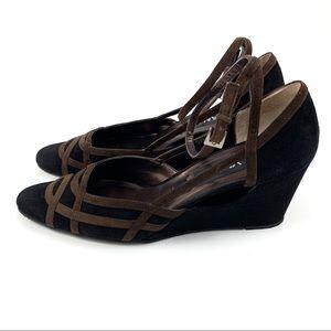 VTG VANELI black + brown suede cut out wedge shoes